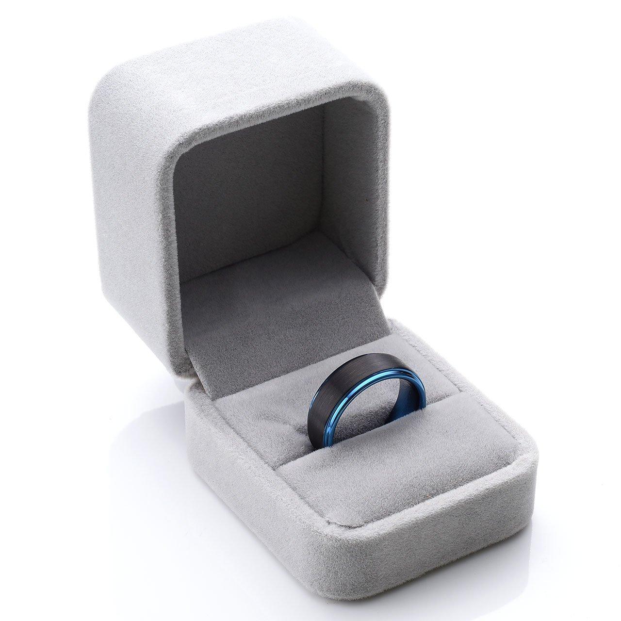 Zysta Polished Blue Matte Black Two Tone Polished Elegant Tungsten Carbide Ring 8mm Men Wedding Engagement Size 10