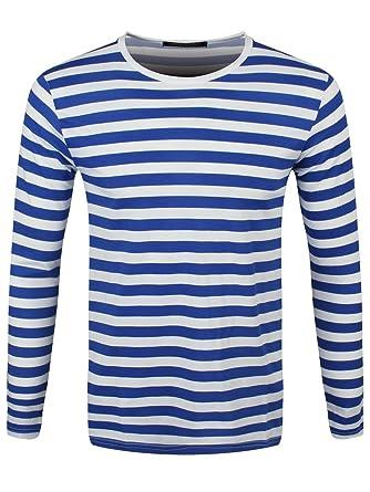 c62f639d26bf81 Männer Langarm T-Shirt blau weiß gestreift  Amazon.de  Bekleidung
