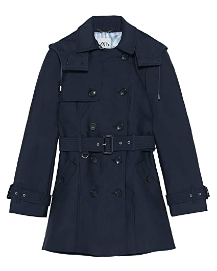 5d12813dc4 Zara Women's Water-Resistant Tailored Trench Coat 0518/057 Blue ...