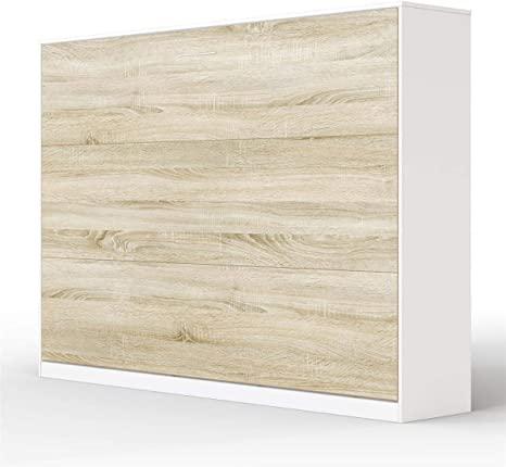 SMARTBett Basic Cama abatible Cama Plegable Cama de Pared (Blanco/Roble Sonoma, 140 x 200 cm Horizontal)