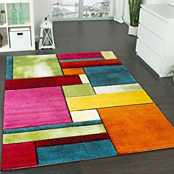 tapis design carreaux contour trendy multicolore loeil vert bleu orange rose dimension - Tapis Design