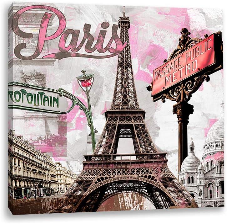 Decor MI Canvas Wall Art Romantic Pink Paris Eiffel Tower Square Wall Art 12x12 Inch Printed Canvas Wall Decors for Kids Girls Bedroom Living Room Bathroom