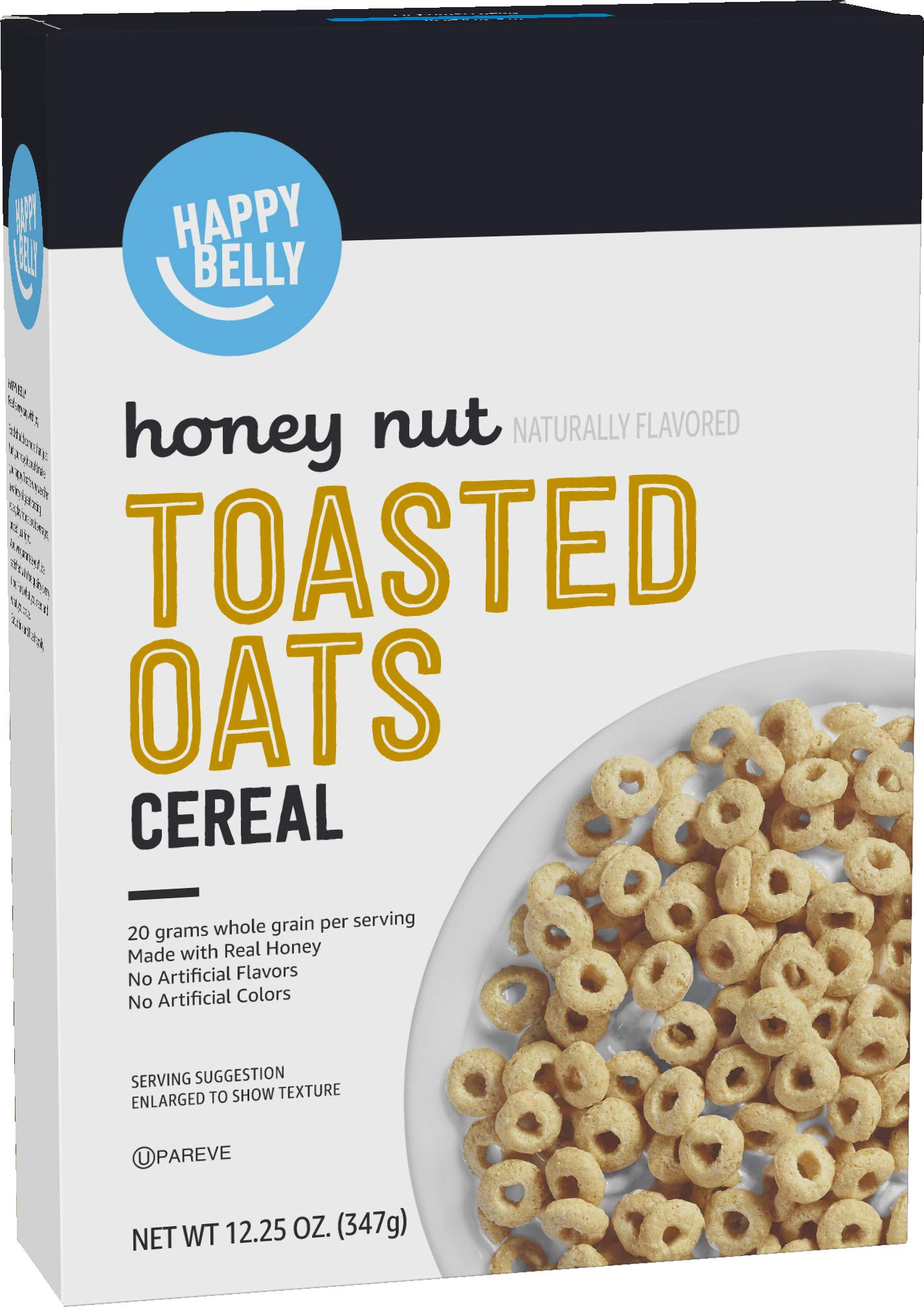 Amazon Brand - Happy Belly Honey Nut Toasted Oats Cereal, 12.5 Ounce