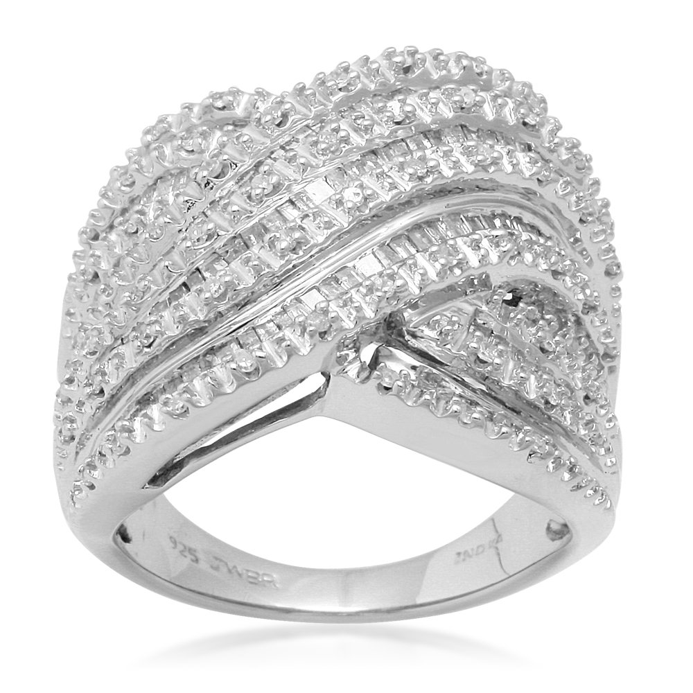 Jewelili Sterling Silver Diamond Baguette and Round Multirow Band Ring, 1 Cttw,Size 6