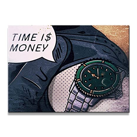 Amazon.com: IKONICK Time is Money Motivational Canvas Wall ...