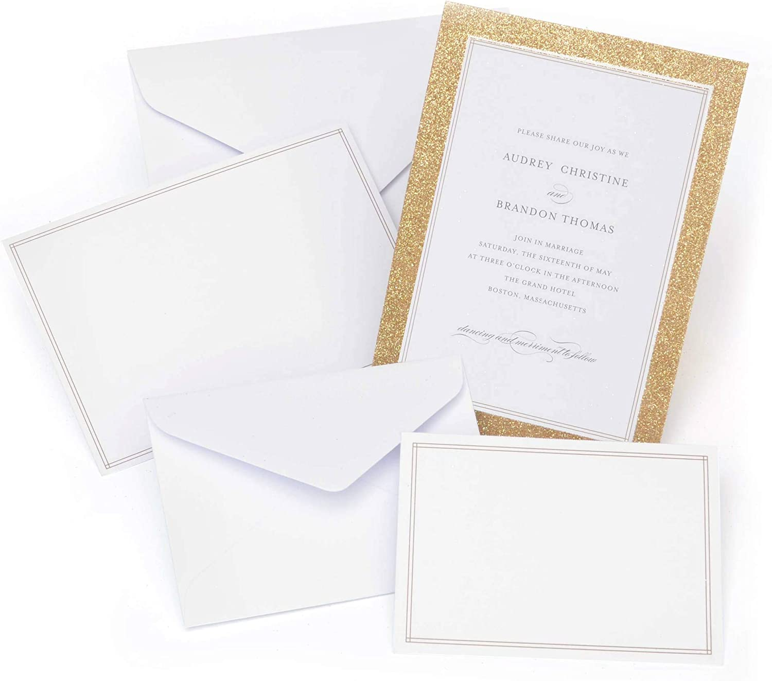 Gartner Studios Gold Glitter Print at Home Wedding Invitation Kit, White