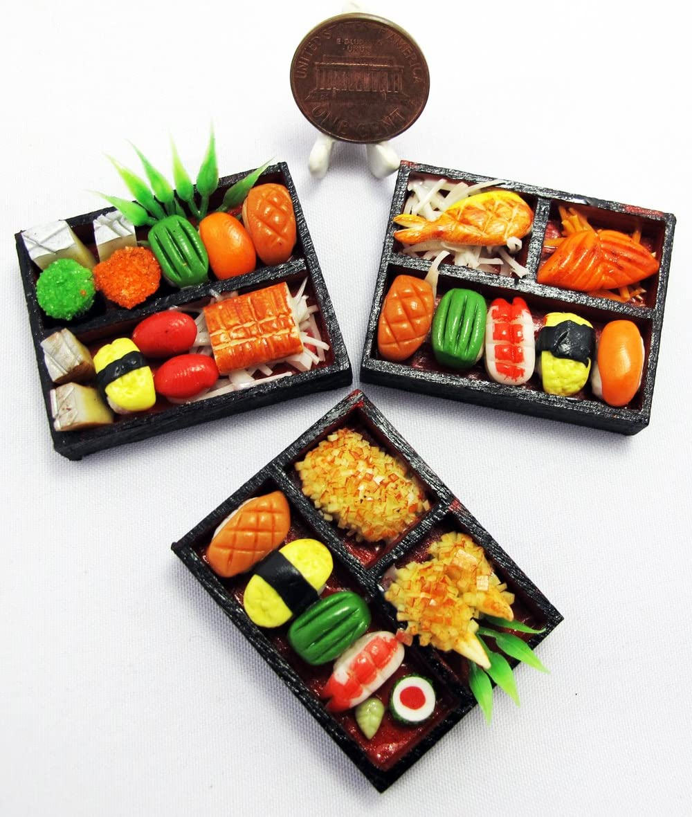 ThaiHonest 3 Mix Dollhouse Miniature Sushi Bento ,Tiny Food,Dollhouse Food
