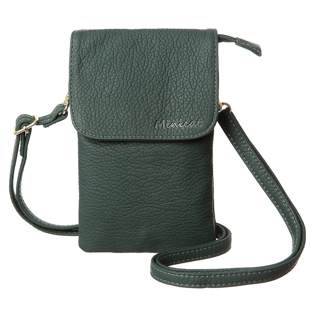 MINICAT Snythethic Leather Small Crossbody Bag Cell Phone Purse Wallet For Women(Green)