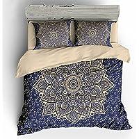Koongso 3 Pcs Bohemian Bedding Boho Bedding Crystal Arrays Bedding Quilt Bedspread Mandala Hippie Duvet Cover Set