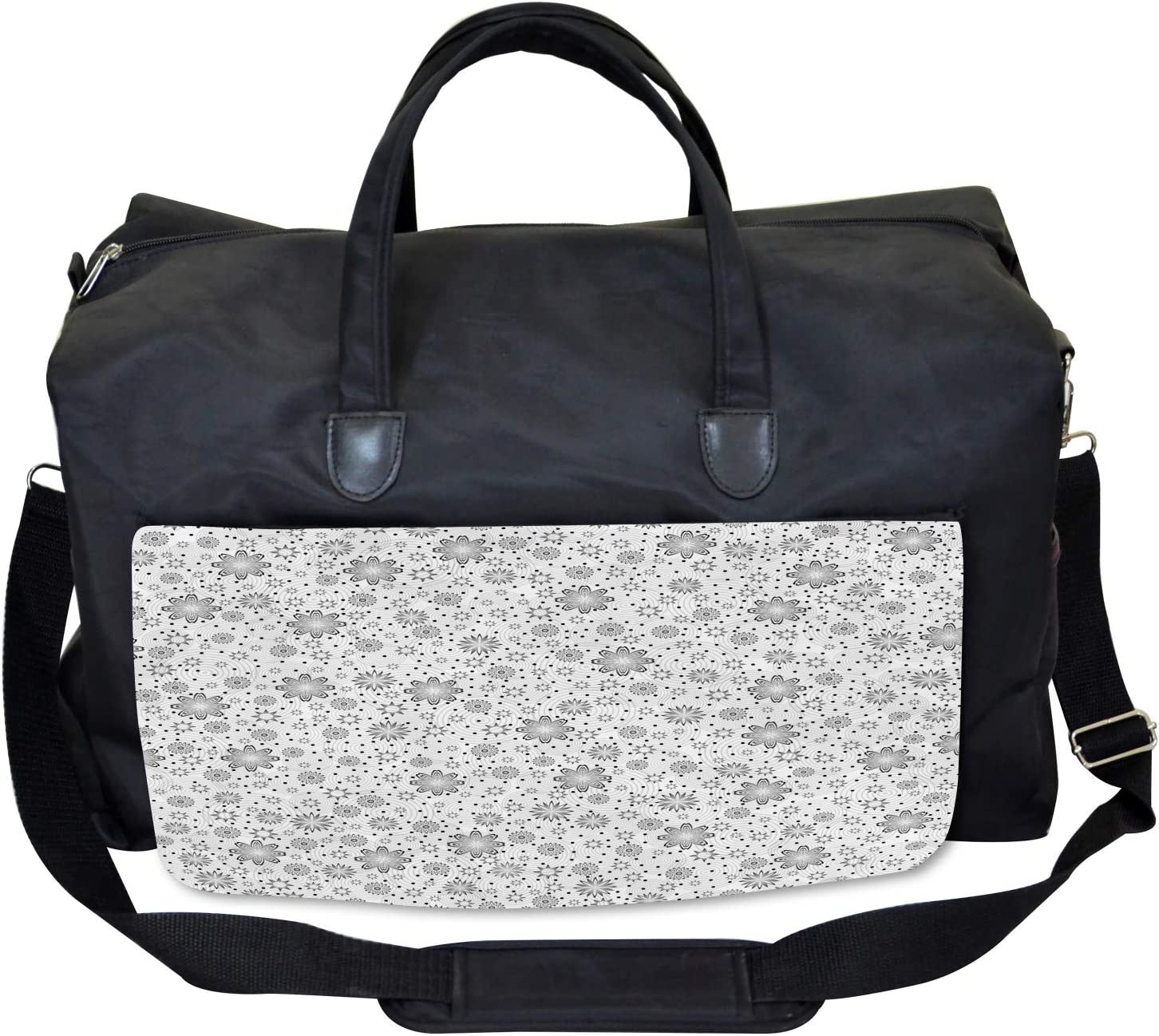 Ambesonne Gym Bag Rotary Round Rings Dots Large Weekender Carry-on