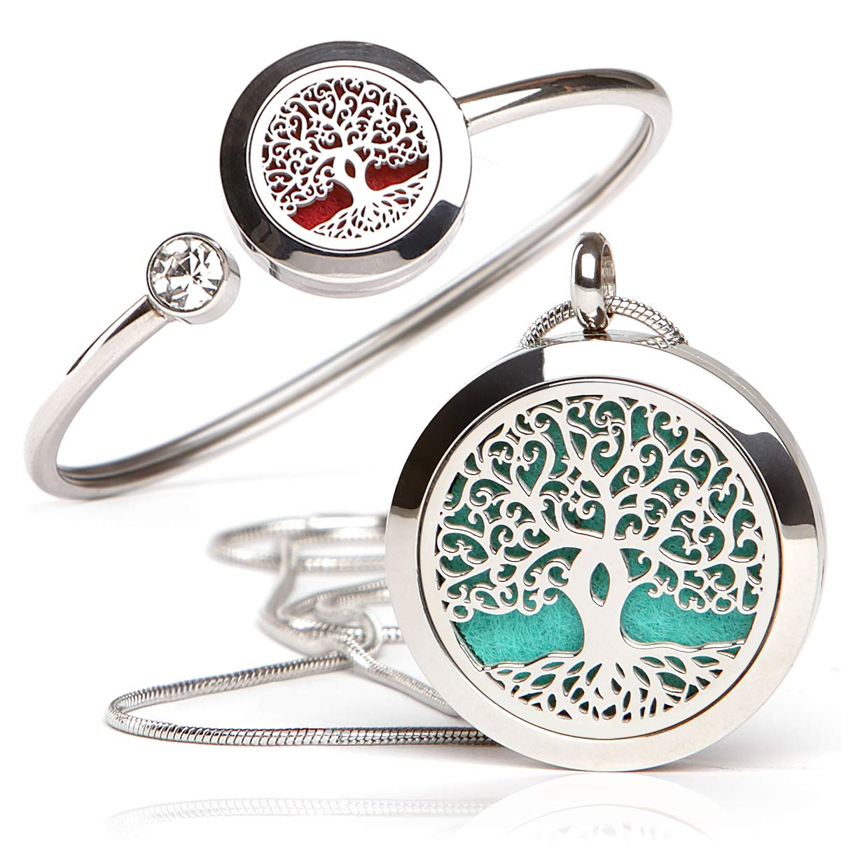 Essential Oil Diffuser Necklace and Bracelet Set - Best for Aromatherapy - Perfume, Fragrance, Scent Diffusers for Women - Tree of Life Gift Set (Small, Tree of Life - Necklace and Bracelet Set)