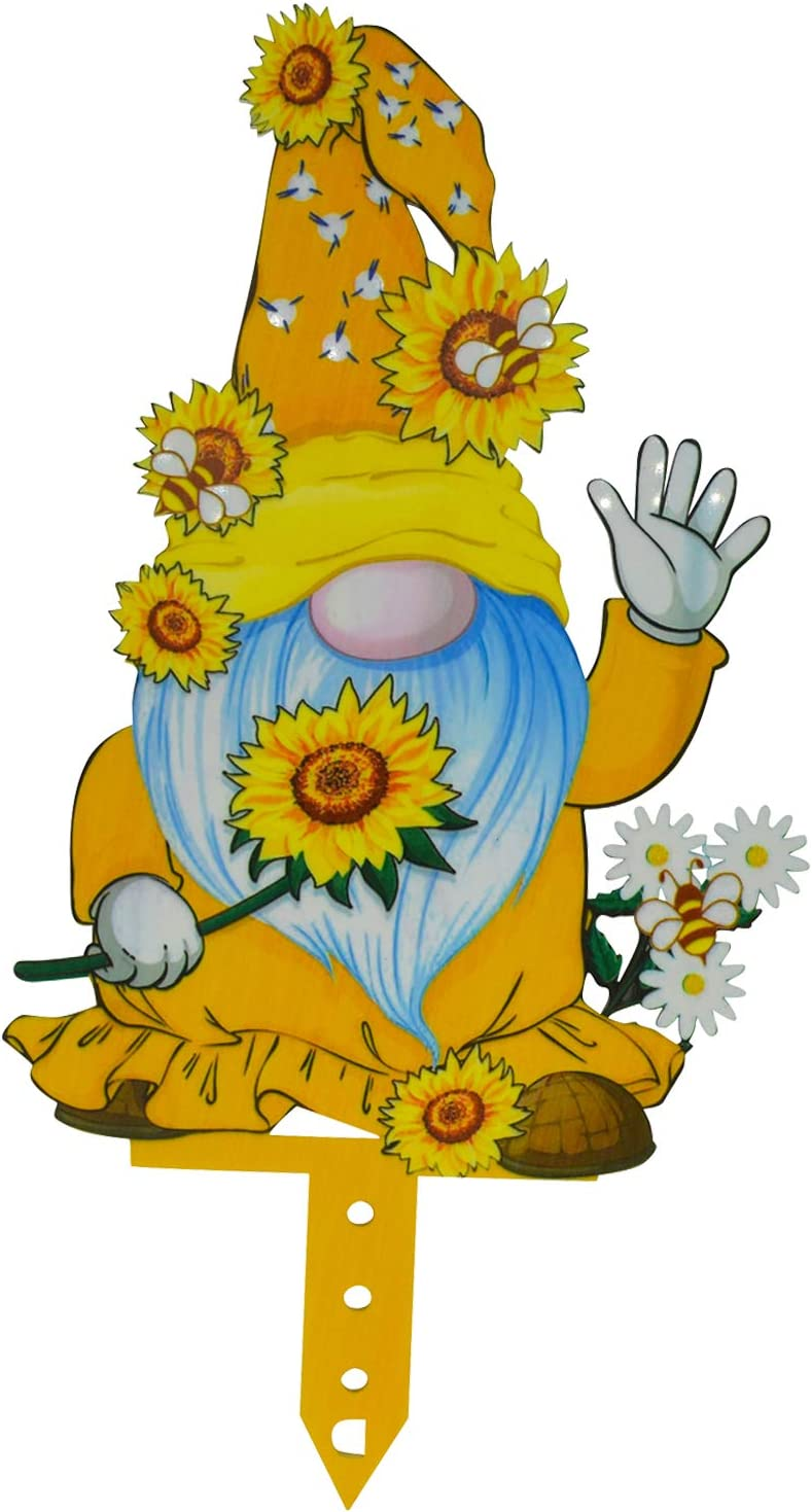 Bee Gnome Yard Art Decoration Spring Sunflower Bumble Garden Lawn Decor Party Yard Floor Ornament Honey Bee Sign Sculpture Bee Day Statue Crafts for Outdoor Lawn, Double-Sided Printed - A