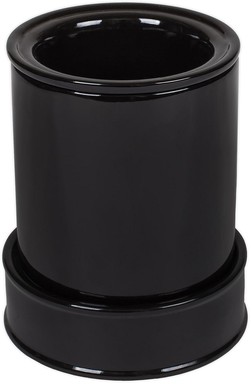 Black Ceramic Stoneware Electric Hot Cold Serving Duo Dipper Warming Pot Dish Set