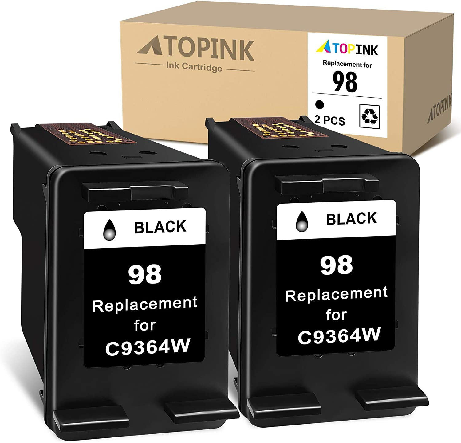 ATOPINK Remanufactured Ink Cartridge Replacement for HP98 98 Work with Photosmart 2610 C3180 8150 2575 8450 2710 8750 2608 Deskjet 9800 5740 6540 6840 6520 6620 Officejet 6210 Printer (2 Black)