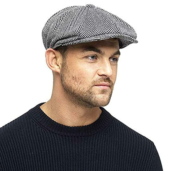 679592b165 Herringbone Newsboy 8 Panel Baker Boy Tweed Flat Cap Mens Gatsby Hat