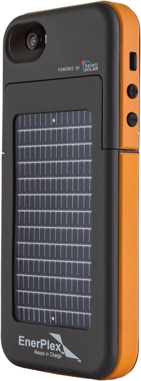 EnerPlex Surfr Ultra Slim Battery Backup & Solar Powered Case for iPhone SE/5/5S, Black/Orange, SFI-2000-OR
