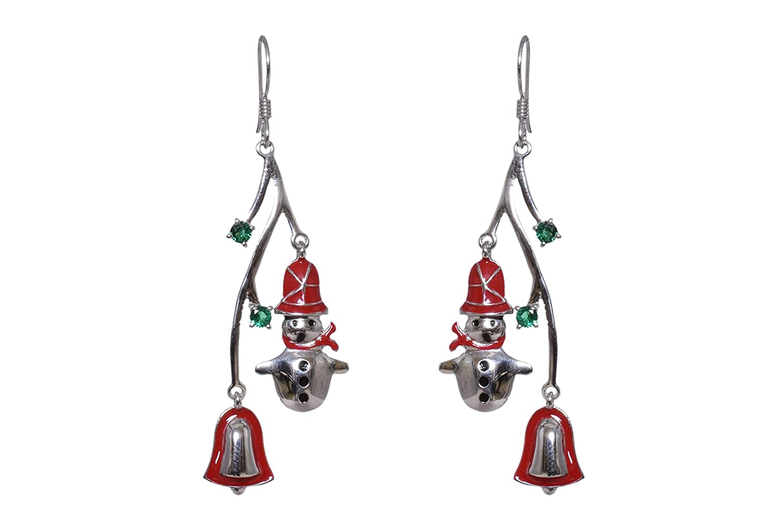 UTOPIA JAIPUR 925 Sterling Silver Christmas Earrings For Women Girls Snowman /& Jingal Bel Dangle Drop Hook Earrings Red /& Green Color Dangle Earrings