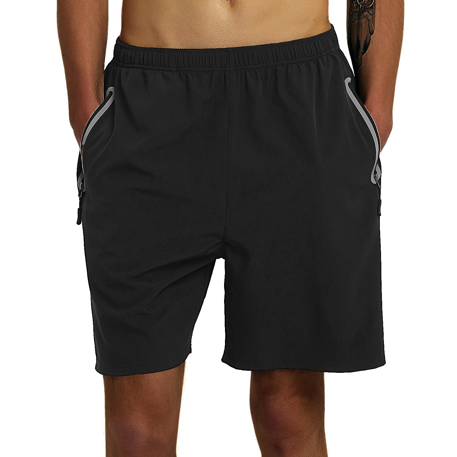 SuperArt Men\'s Gym Shorts Outdoor Sports Running Beach Shorts Lightweight Quick Dry Shorts Reflective with Zipper Pockets (Black, Medium)