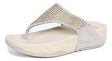 c883c2372f9 METRO Girl s Lady s Fashion Thong Wedge flip Flops Sandals (US5