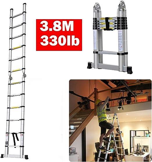 Una escalera telescópica de marco 3,8 m con capacidad de 30 kg, escaleras plegables de 12 peldaños, escalera de aluminio ligero, portátil, para interiores y exteriores, para trabajos de construcción: Amazon.es: Bricolaje