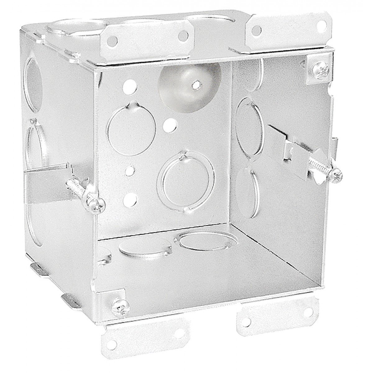 1 Pc, 4'' Square Cut In Old Work Junction Box, 2-1/8 In. Deep, (6) 1/2 In. & (6) 1/2-3/4 In. Side Knockouts; (2) 1/2 In. & (2) 3/4 In. Bottom Knockouts, .0625 Galvanized Steel