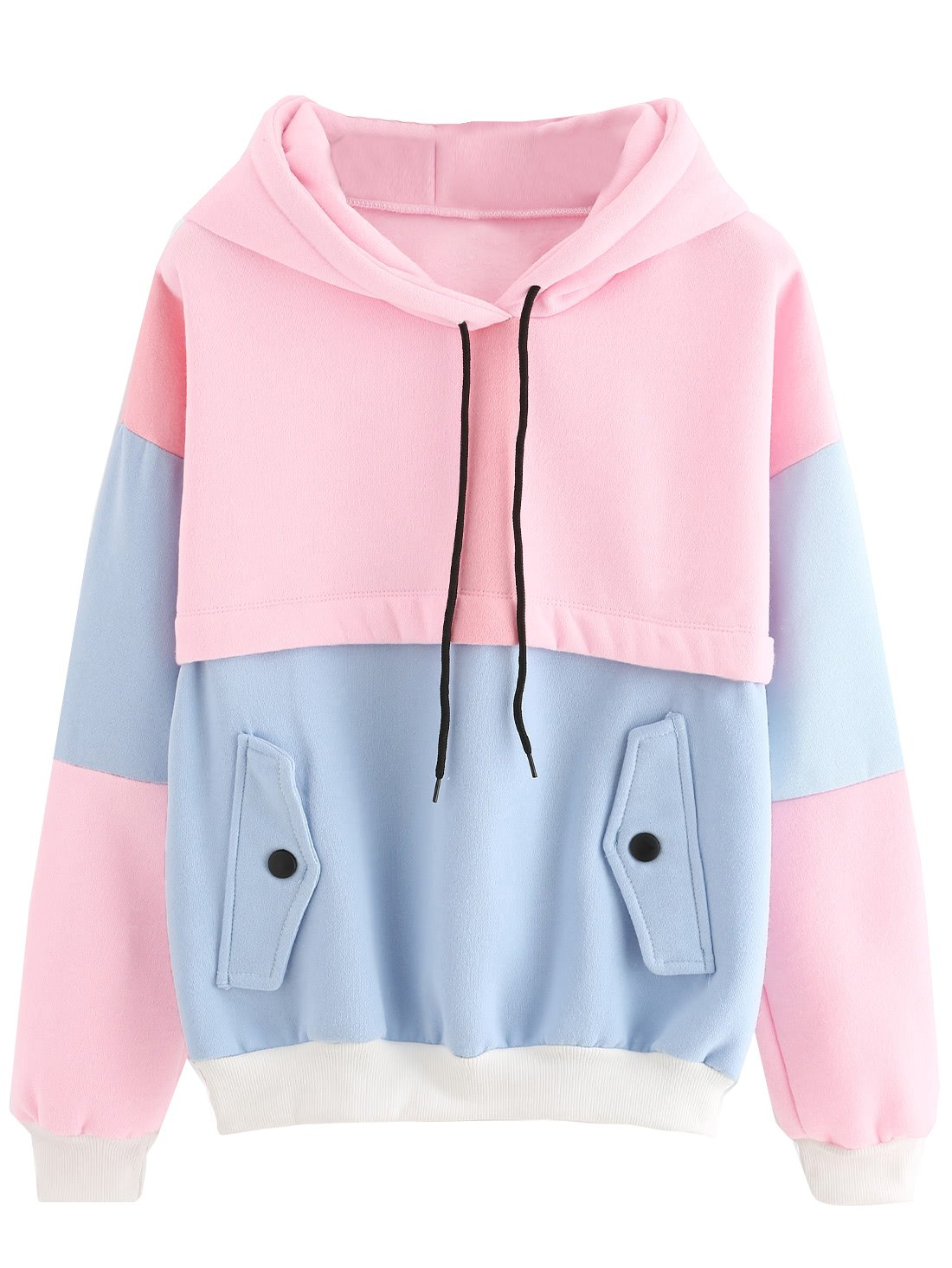 SweatyRocks Women's Winter Color Block Long Sleeve Fleece Hoodie Sweatshirt with Pockets