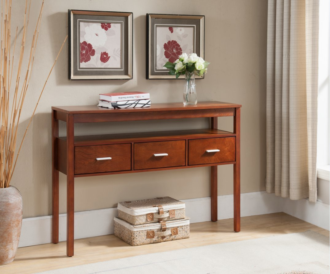 Kings Brand Console Entryway Table with 3 Drawers, Walnut Finish Wood by Kings Brand Furniture
