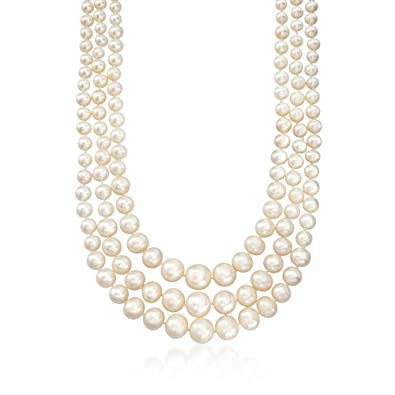 ab8c0a71f1c9a Ross-Simons 6-12.5mm Cultured Pearl Three-Strand Necklace With 14kt Yellow  Gold