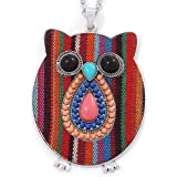 Funky Multicoloured Fabric with Acrylic Bead Owl Pendant, with Long Silver Tone Chain - 80cm L