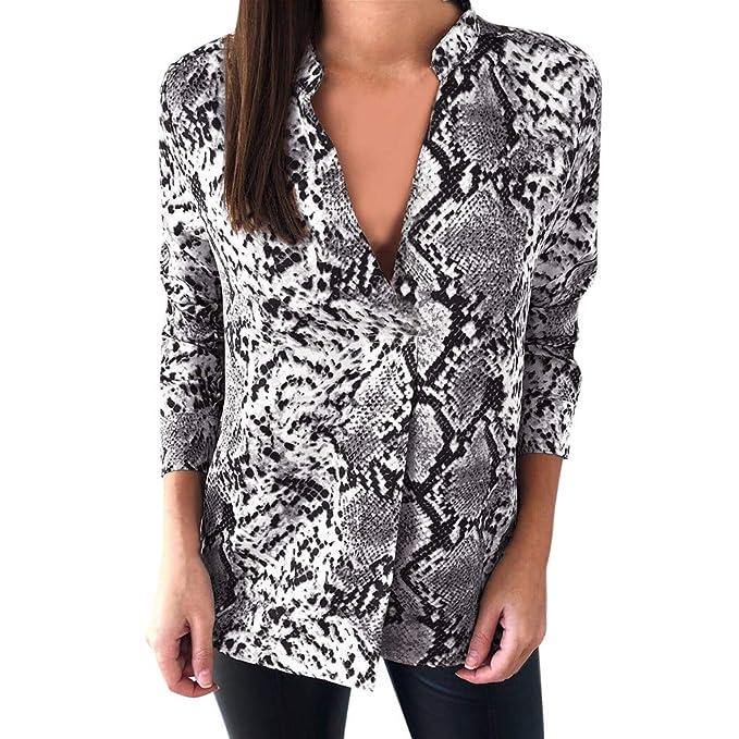 Lenfesh 2019 Primavera Blusa de Manga Larga con Estampado de Serpiente para Mujer  Camiseta Holgada para Mujer Camisetas Casual Top para Mujer  Amazon.es  ... 0ffebf1c5304e