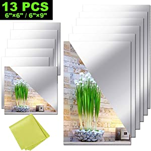 "12 Pieces Self Adhesive Acrylic Mirror Sheets, Flexible Non Glass Mirror Tiles Mirror Stickers for Home Wall Decor, 6"" x 6"" and 6"" x 9"""