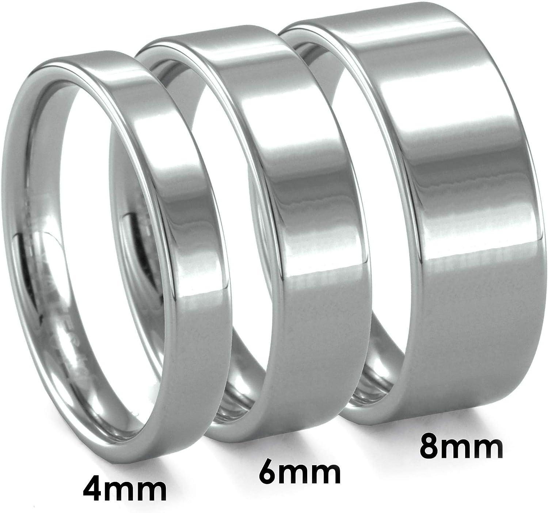 Yates 4mm Piatto Flat Tungsten High Polished Finish Wedding Band J.R