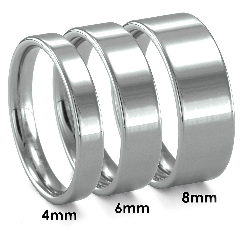 J.R Yates Piatto Flat Tungsten Polish Finish 6mm Wedding Ring