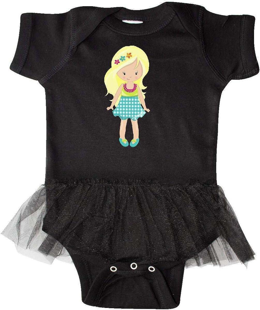 Pink Infant Tutu Bodysuit Blue Skirt Blonde Hair inktastic Fashion Girl