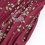 BODOAO Womens Boho Floral Print Casual Loose Gallus Crewneck Long Sleeves Party Long Dress