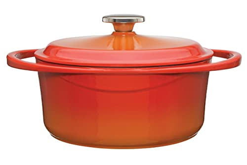 Berndes 1504102 Round Casserole Dish with Lid, 24cm, 4 Litre, Cast Iron, Red/Orange