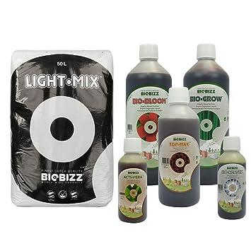 BioBizz - Pack de sustrato Light-Mix (50L) + fertilizante, para ...