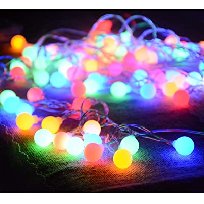 Homeleo 50 Led Color Changing Globe Fairy Lights, Battery Operated Outdoor Christmas Lights with Timer Remote, 16.5ft Multicolored String Lights for Bedroom Patio Umbrella Balcony Gabezo Decoration : Garden & Outdoor