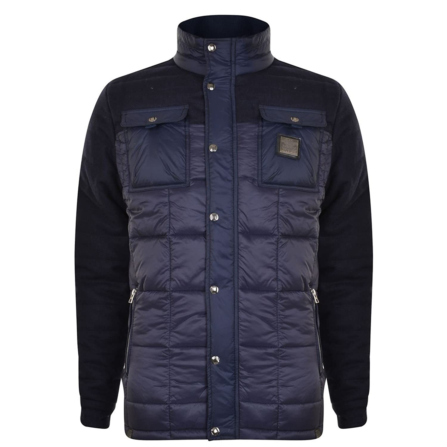 Mens Voi Jeans Designer Quilted Jacket Warrior - Dark Blue