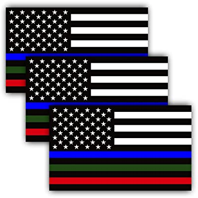 Anley 5 X 3 inch Thin Line US Flag Decal - Blue Green and Red Reflective Stripe American Flag Car Stickers - Support Police Military and Fire Officers (3 Pack): Automotive