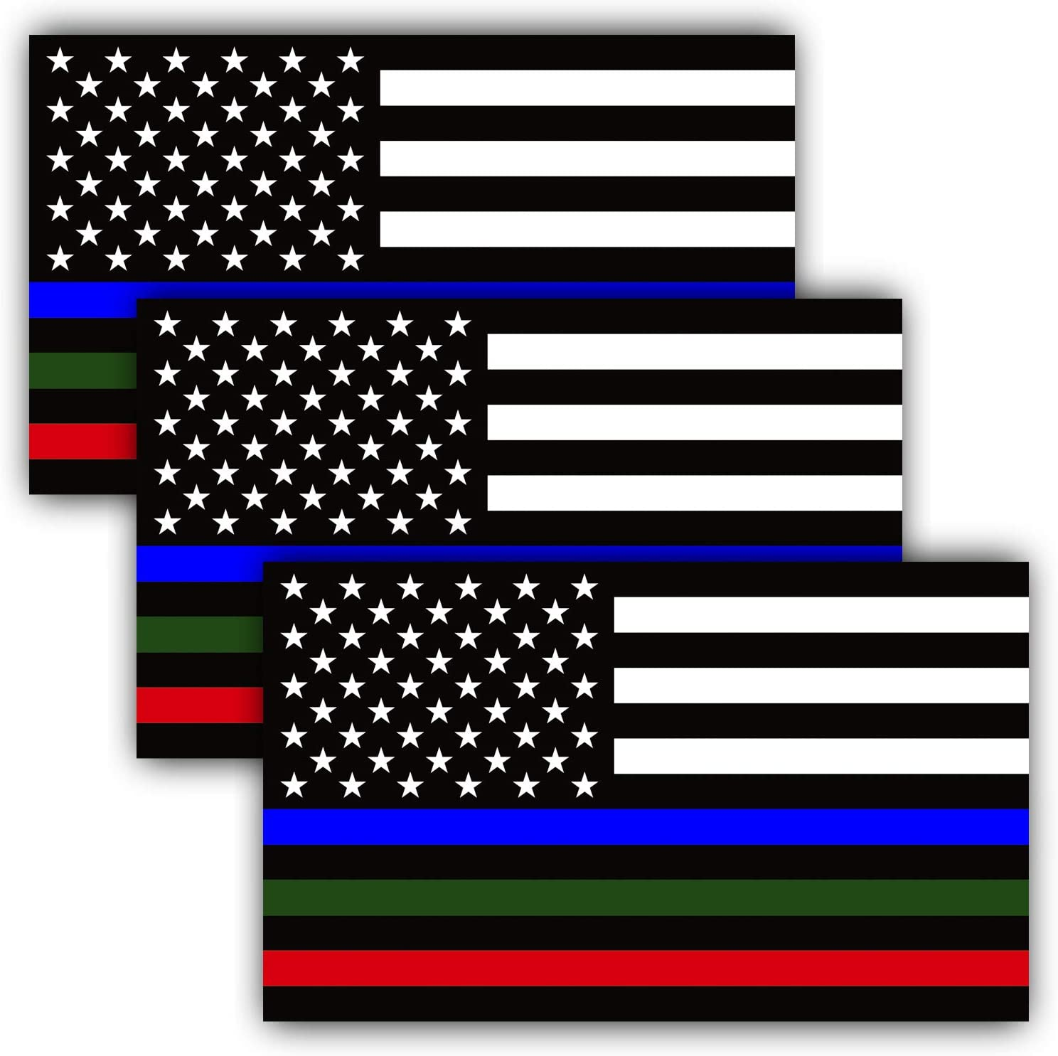 Anley 5 X 3 inch Thin Line US Flag Decal - Blue Green and Red Reflective Stripe American Flag Car Stickers - Support Police Military and Fire Officers (3 Pack)