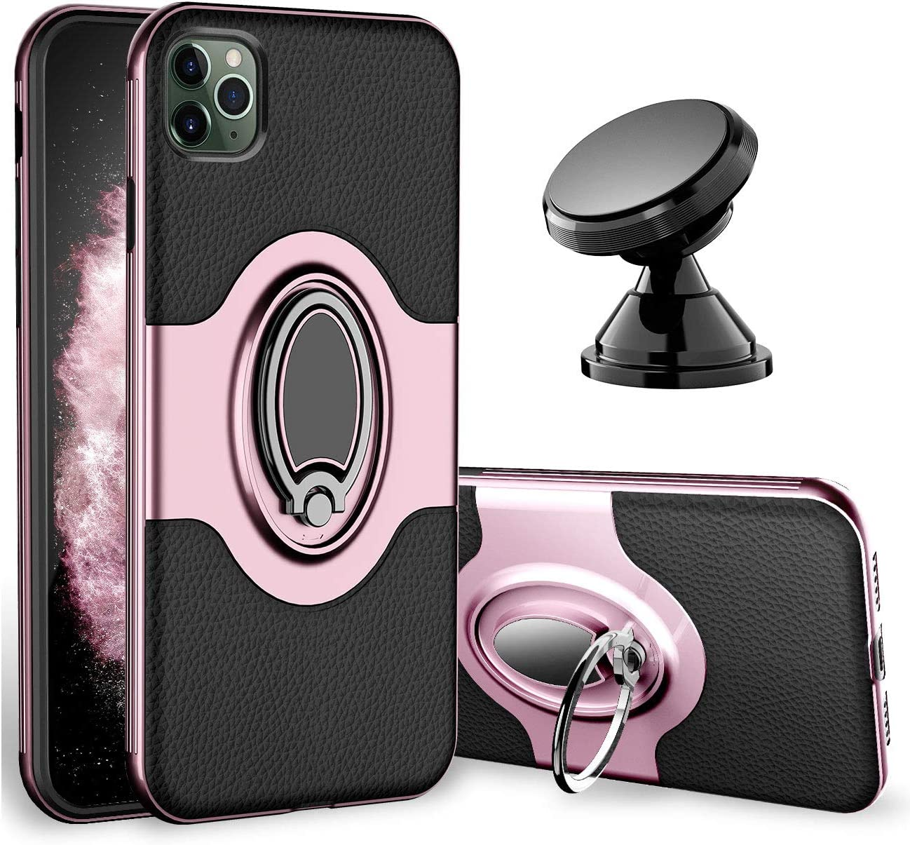 eSamcore iPhone 11 Pro Max Case - Ring Holder Kickstand Cell Phone Cases + Magnetic Phone Car Mount for Apple iPhone 11 Pro Max 6.5 Inch 2019 [Rose Gold]