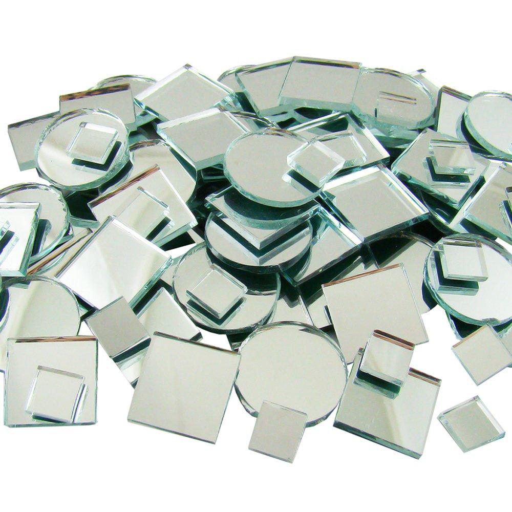 Jennifer's Mosaics 150 Count Plain Mirror Mosaic Tile Assortment, Silver by Jennifer's Mosaics