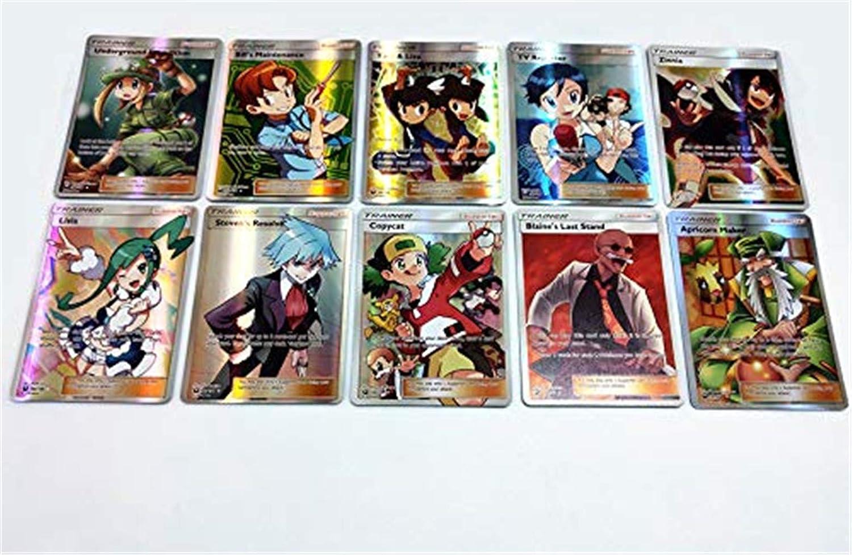 Eholder Pokemon Karten GX Sammelkarten 100 St/ück Set Pokemonkarten mit 50 GX Pokemon-Karten 20 Energie 20 Mega Karten 10 Flash Trainer Karten Kinder Pokemon Kartenspiele 100 Pack