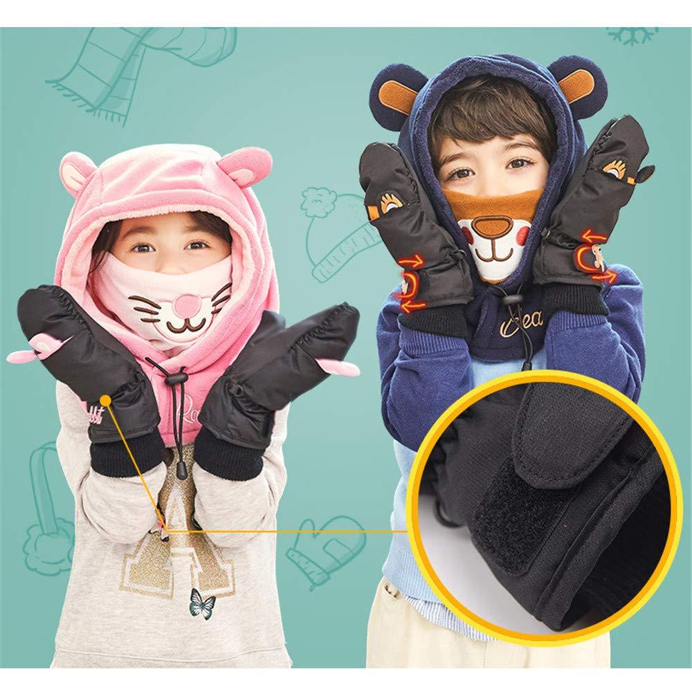 Ski Gloves Children Ski Gloves Winter Thicken Warm Cotton Gloves Baby Even Fingers Cartoon Outdoor Boys and Girls Gloves Winter Warm Gloves,Waterproof Snowboard Gloves,BRE