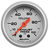 "Auto Meter (4326) Ultra-Lite 2-1/16"" 0-100 PSI Mechanical Exhaust Pressure Gauge"