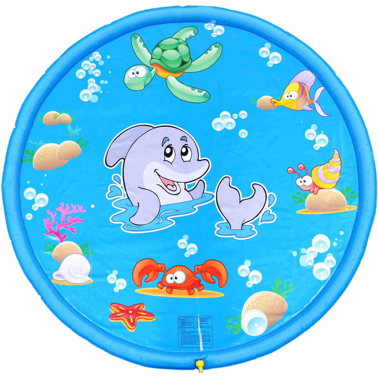BATTOP Splash Play Mat 68in-Diameter Outdoor Water Play Sprinklers Summer Fun Backyard Play for Infants Toddlers and Kids(Blue) by BATTOP (Image #1)