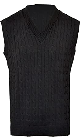 f4666a15703c01 Clothing Unit Mens Plain Cable Knit V Neck Sleeveless Sweater Jumper Tank  Top Golf Casual  Amazon.co.uk  Clothing