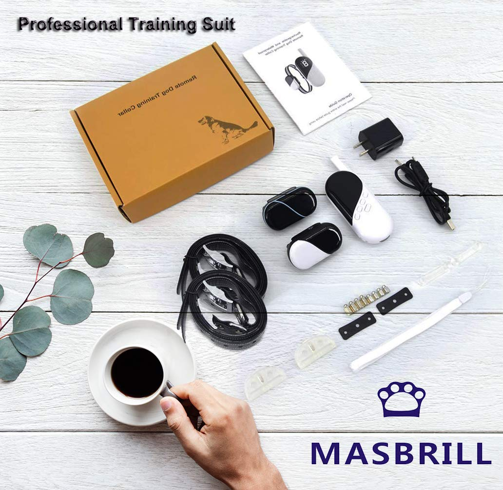 MASBRILL Dog Training Collar, Rechargeable Shock Vibration Sound Collar with 1000FT Remote, IPX7 Waterproof Pet Behavior Training Unit, for Small Medium Big Dogs, Control 3 Dogs at The Same Time