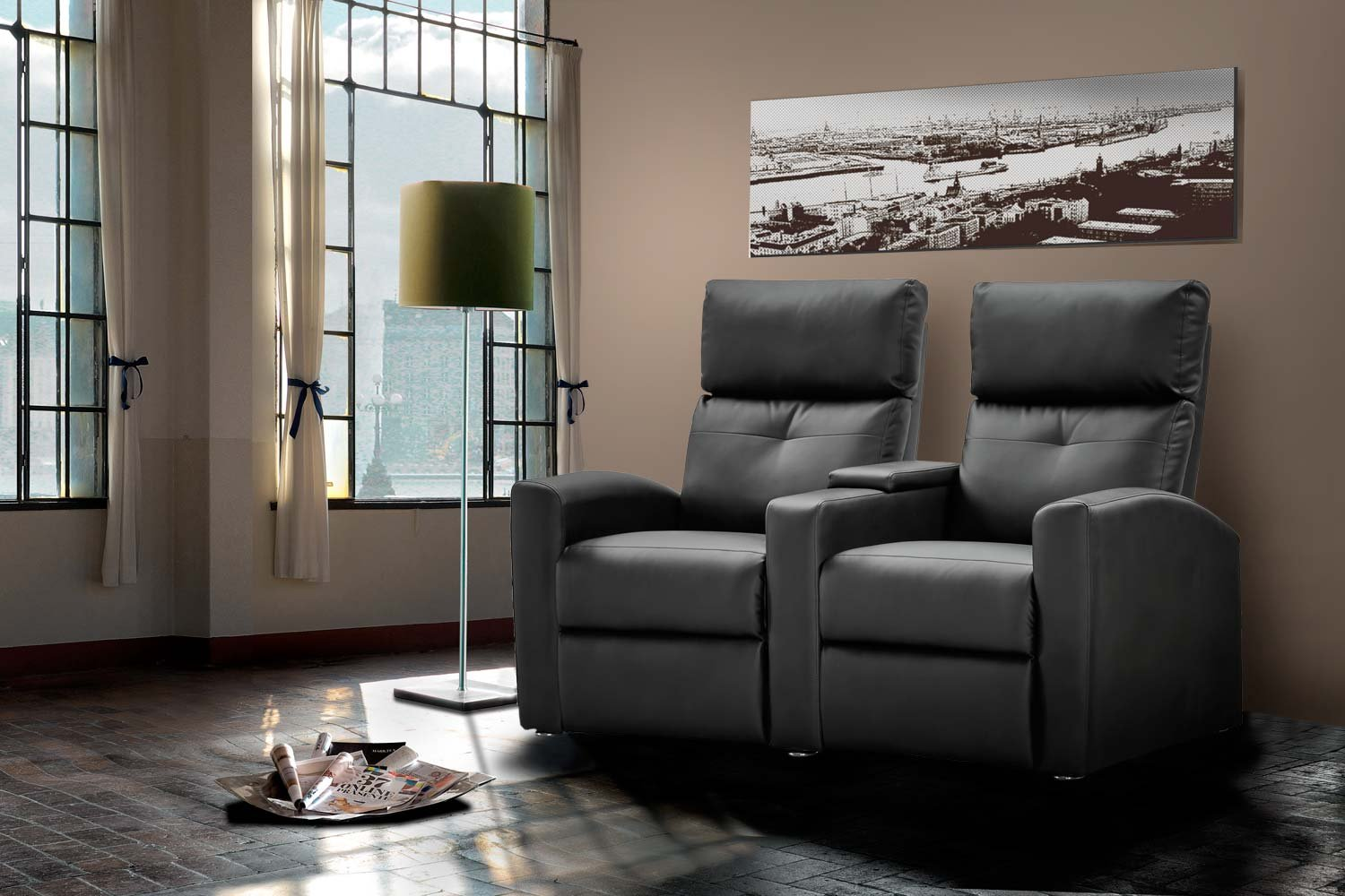2 sitzer kinosessel kunstleder schwarz cinema relax sofa heimkino sessel tv sofa. Black Bedroom Furniture Sets. Home Design Ideas